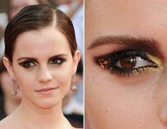Beautiful emma watson Golden Smokey Eye Makeup look.