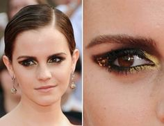 Beautiful emma watson Golden Smokey Eye Makeup look.