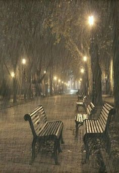 No one is walking in the park this rainy night. The glowing park lights are really pretty. Rainy Dayz, Rainy Night, Rainy Mood, Walking In The Rain, Singing In The Rain, Foto Picture, I Love Rain, Sound Of Rain, Rain Storm