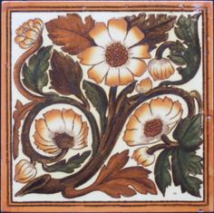 English Victorian Transfer Tile. Strong arts & crafts/nouveau transfer-printed and hand-colored tile in a bold color pattern. A glaze skip at top edge near right corner; underglaze frit at right edge mid-way down and a small nick lower...