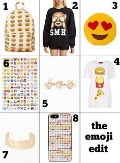 Give the gift of emojis this holiday season! 1. Emoji-nal Backpack $65, 2. Reason SMH Emoji Sweatshirt $50 (tee here for $28), 3. Seeing Hearts Pillow $25, 4. Emoji Print Roll Sleeve Tee $14 (get 24% off with code 2GETHER), 5. Demmy Double Emoji Ring Gold $9.48 (get 30% off with code CYBER30), 6. Emoji Sticker Sheets $12, 7. Amera Emoji Cuff $9.48 (extra 30% off with code CYBER30), 8. Emoji iPhone 5 Case $22