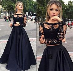 Abiti da Cerimonia da Sera Formal Black Long Sleeve Evening Gowns Arabic 2 Piece Prom Dresses Lace Satin Cheap Robe de Soiree