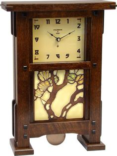 Greene & Greene Mantel Clock with your choice of any handcrafted Motawi 6x6… Arts And Crafts For Teens, Art And Craft Videos, Easy Arts And Crafts, Arts And Crafts Projects, Wooden Projects, Craftsman Clocks, Craftsman Furniture, Craftsman Style, Craftsman Houses