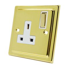 #Victorian polished #brass 1 gang socket - 13a single double plug #outlet (white),  View more on the LINK: http://www.zeppy.io/product/gb/2/231850685562/
