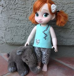 16 inch toddler doll clothes/handmade cropped pants & shirt compatible with disney animator collection doll/organic cotton teal animal print
