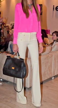 Hot pink blouse, tan fitted pant.    pair with magenta blouse in closet and neutral work pants