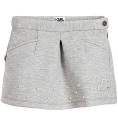Girls grey, 'Keep Cool', neoprene skirt by KARL LAGERFELD Kids. With two side…