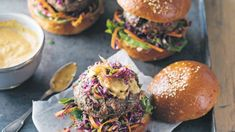 Lamb burgers with Middle Eastern coleslaw
