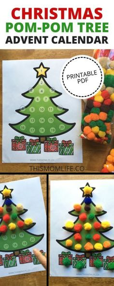 Christmas Tree Advent Calendar Printable for kids. Parents, make this Christmas special by using a fun advent calendar template for you kids. This family Christmas tradition builds excitement and is great for toddlers and preschoolers. Christmas Pom Pom, Toddler Christmas, Family Christmas, Christmas Time, Toddler Holidays, Christmas Decor, Christmas Tables, Reindeer Christmas, Magical Christmas