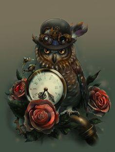 steampunktendencies:  Sir Owl by Pako Art