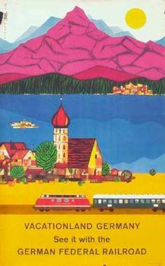 Romantic Germany More Fun by Train  German Federal Railroad Original Vintage German Travel Poster