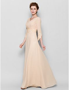 Sheath/Column Mother of the Bride Dress - Pearl Pink Floor-length 3/4 Length Sleeve Chiffon -  02467411