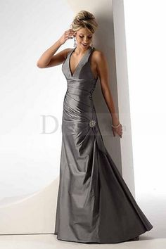 Brilliant Silver Taffeta Dress with Delicate Ruche Detail for Military Ball Party