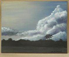 """Sunset with Trees Original Acrylic Painting 8"""" x 10"""" by dragonbee on Etsy"""