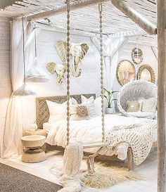 bohemian bedroom 452048881348367893 - Juba Swing – Green Design Gallery Source by fabiolaibanez Dream Rooms, Dream Bedroom, Girls Bedroom, Master Bedroom, Master Suite, Swing In Bedroom, Bedroom 2018, Bedroom Yellow, Bedroom Brown