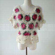 Borda 2.013 rosas Novas tridimensionais Mão mangas blusa Ondulado camisola de Malha casaco Mulheres - Taobao