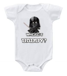 Funny Humor Custom Baby Bodysuits Star Wars Darth Vader Where's Daddy? Star Wars Baby Clothes, Funny Baby Clothes, Baby Kids Clothes, Baby Boy Outfits, Kids Outfits, Star Wars Onesie, Custom Baby Onesies, Cute Funny Babies, Mom And Baby