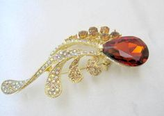 Topaz Faceted Brooch - Rhinestone Encrusted - Large Gold Tone Pin