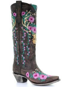 Corral Women's Brown Deer Skull Overlay Floral Embroidered Cowgirl Boots - Snip Toe, Brown, hi-res Cowgirl Boots, Western Boots, Western Wear, Country Boots, Gypsy Cowgirl, Cowgirl Chic, Cowgirl Outfits, Western Outfits, Mode Country