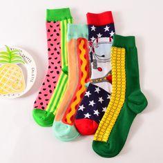 >> Click to Buy << 1 pair new brand men cotton casual socks in tube novelty harajuku designer fashion street watermelon skateboard long funny socks #Affiliate