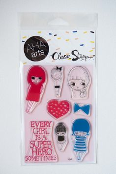 """ashley g """"girls"""" stamp set. Place clear stamps on a block and use just like a rubber stamp"""