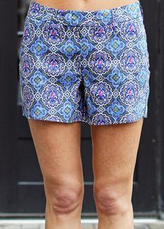 Level 99 Cassandra Short-Mosaic, printed short, cute shorts, preppy shorts, tailored shorts