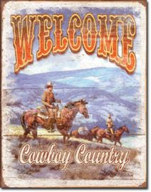 Welcome Cowboy Country Metalen wandbord 31,5 x 40,5 cm.