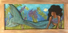 East Nashville Artist, Dayo Johnson, Owner of Dayo Art. Acrylic on wood, children of all races, multicultural, unity, carved mermaid painting, under the sea