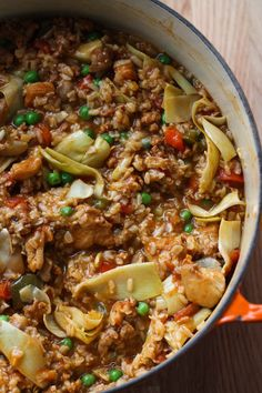 paella simple one pot meal elr. Super yummy, used stater bros chorizo. Chicken breast instead of thighs and brown basmati rice. Makes a huge pot full, lots of leftovers.also used yellow and orange bell peppers. Topped w avocado and lime.