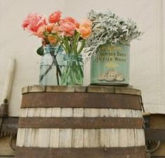 Not these flowers--but perhaps something low and casual for some flowers in the tasting room--perhaps darker colors there?