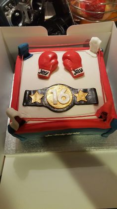 Boxing ring cake with gloves and belt for a friend's son's 16th birthday  https://www.djs.durban