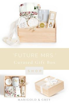 A happy bride is a beautiful bride and our signature 'Future Mrs.' gift box is sure to uncover smiles (and maybe even some happy tears too)! Complete with a luxurious ivory floral robe, Gem Pen, and more, this gift box is sure to have her feeling like a bride in no time.