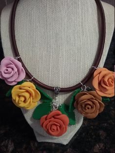 Tina Roses - Necklace, Gift ideas, Wonderful handmade, Gift Aisha Jewelry, Romantic necklace, Happiest gift, Roses,Attract necklace,Fashion, by GiftAishaJewelry on Etsy Handmade Necklaces, Fashion Necklace, My Design, Polymer Clay, Crochet Necklace, Roses, Romantic, Gift Ideas, Gifts