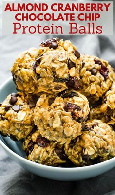 Want a healthy, quick and easy snack or post-workout pick me up? These healthy protein balls are loaded with almond butter, whey protein powder, rolled oats, flax meal and chia seeds with chewy, tangy dried cranberries and mini chocolate chips. Learn how to make this simple DIY recipe in minutes. #proteinballs #healthysnack Savory Snacks, Vegan Snacks, Easy Snacks, Healthy Desserts, Healthy Food, Healthy Recipes, Healthy Protein, Whey Protein, Breakfast Recipes