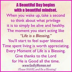 A beautiful day begins with a beautiful mindset Uplifting Quotes, Inspirational Quotes, Depression Problems, Self Compassion, Word Of Mouth, Godly Woman, A Blessing, God Is Good, Positive Thoughts
