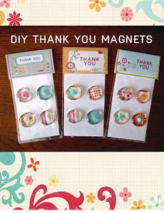 DIY fridge magnets, packaged with clear cello bags and printed fold-over tags. Nice appreciation gift, stocking stuffer, or party favour.