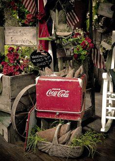 cabin porch decor with vintage coca-cola cooler