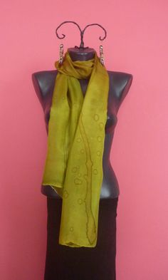 Silk, silk scarf, hand made scraf, silk painting- olive green, 175 x 43 cm by tothajhsa on Etsy