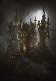 ArtStation - Château de la Mort (Halloween-Special), Greg Zdunek - D&D love - halloween art Fantasy City, Fantasy Castle, Fantasy Places, Dark Fantasy Art, Fantasy Artwork, Fantasy World, Dark Art, Gothic Castle, Dark Castle