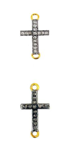 Findings and Stampings 165142: Diamond 14K Gold Cross Good Luck Connector .925 Sterling Silver Finding Jewelry BUY IT NOW ONLY: $64.0