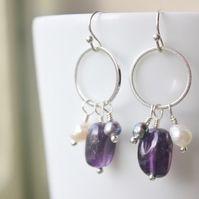 Amethyst nugget & freshwater pearl earrings