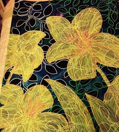 Yellow Lilies Dylusion inks & paints, background stencil, paint pens