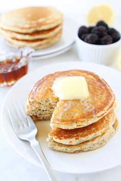 Lemon Poppy Seed Yogurt Pancakes -- love this healthy version using Gold Medal White Whole Wheat flour!