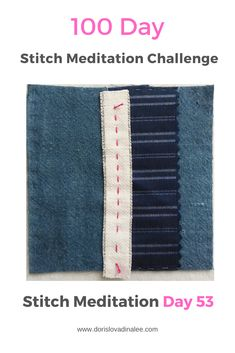 A five inch square of indigo silk noil, repurposed silk and upholstery linen. Held by a running stitch of fuchsia perle cotton thread. Meditation, Challenge, Running Stitch, 100th Day, Cotton Thread, Hand Stitching, Repurposed, Indigo, Upholstery