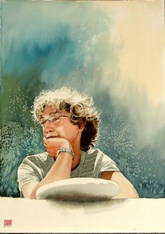 David - another beautiful memory. Portrait in W&N aquarelle on Arches torchon