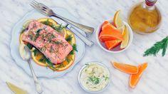 Filetto di salmone brasato con dip alla senape