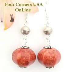 Four Corners USA Online - Apple Coral Navajo Handmade Silver Bead Earrings… Coral Earrings, Coral Jewelry, Bead Earrings, Beaded Jewelry, Silver Jewelry, Silver Ring, Jewlery, Horn Coral, Four Corners Usa