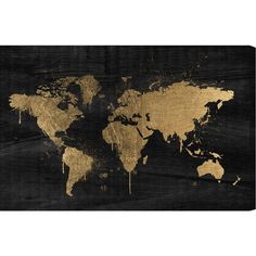 Gilded Map Canvas Print, Oliver Gal A Colorful Vision ❤ liked on Polyvore featuring home, home decor, wall art, gold wall art, map home decor, gold home decor, colorful home decor and map wall art