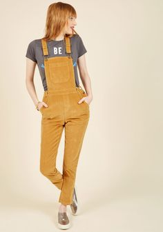 Fall Potluck Overalls in Saffron. The only thing more comforting than your famous bourbon-pecan pie are the corduroy overalls in which you serve it! #tan #modcloth