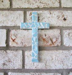 Seashell Wreath, Easter Cross, Blue Cross, Wood Crosses, Blue Tiles, Sea Glass Art, Wall Tiles, Coastal, Ocean